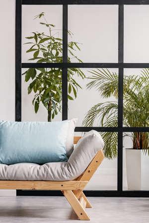 Urban jungle behind black mullions wall in fashionable living room interior with scandinavian sofa 版權商用圖片