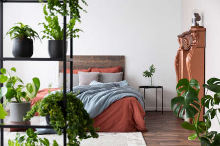 Bright modern bedroom full of plants and with coppery decor
