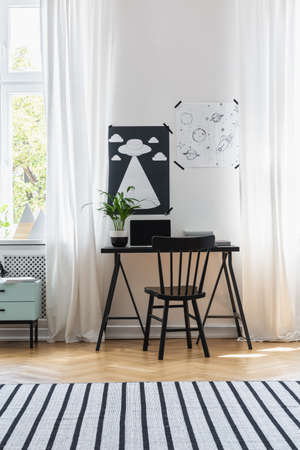 Black and white posters above laptop and plant on black desk in modern home office interior with books, real photo Stock Photo