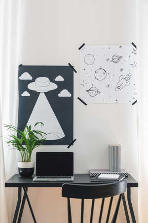 Stylish posters on the wall above black desk with laptop, plant and books in modern home office, real photo
