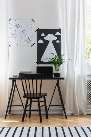 Vertical view of posters on the wall above black desk with laptop, plant and books in modern home office, real photo Stock Photo