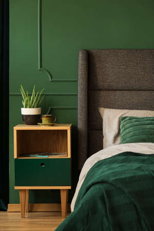 Real photo of a bedside table next to a bed in a dark green bedroom interior