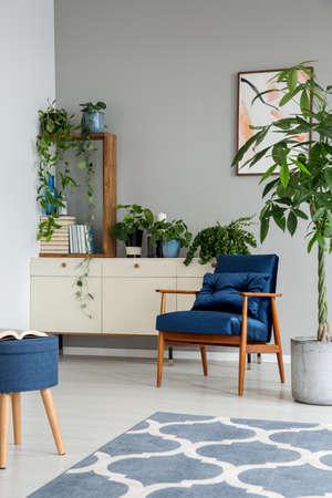 Wzorzysty niebieski dywan i drewniany fotel w szarym wnętrzu pokoju z rośliną i stołkiem. Prawdziwe zdjęcie Zdjęcie Seryjne