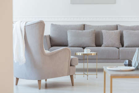 Simple grey couch in bright scandinavian living room interior Stok Fotoğraf