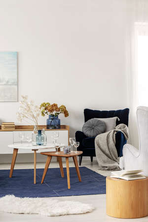 Grey and navy blue living room interior with coffee tables and velvet armchair Фото со стока