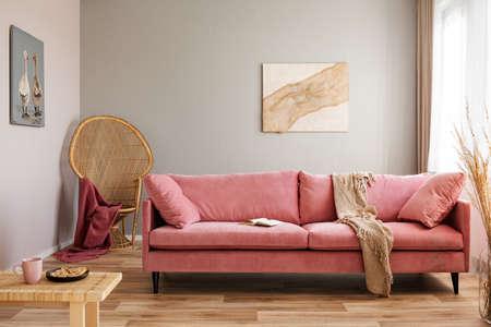 Silla de mimbre de pavo real con manta roja detrás del sofá de terciopelo rosa Foto de archivo