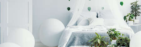 Panoramic view of white and green bedroom with king size canopy bed and pants on bedside Reklamní fotografie