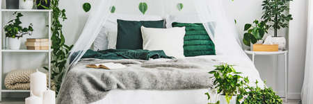 Panoramic view of white and green bedroom with king size bed with emerald pillows and grey duvet Stock Photo