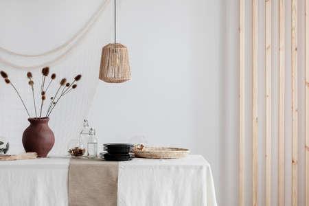 Bright natural decoration of dining room interior