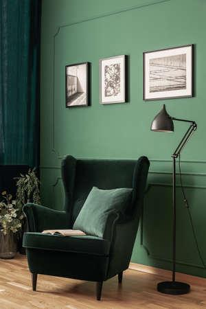 Prawdziwe zdjęcie eleganckiego, zielonego kącika do czytania z metalową lampą i zielonym, zamszowym fotelem. Wnętrze salonu