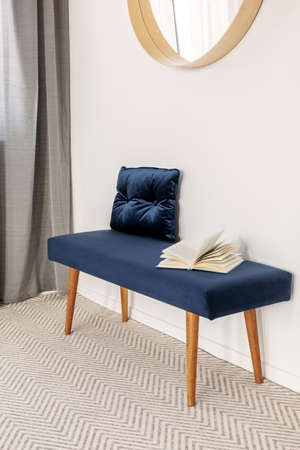 Blue settee with pillow in elegant waiting room