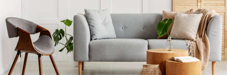 Panoramic view of modern interior with gray sofa and chair Banque d'images