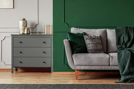 Green wall, grey Scandinavian couch and wooden chest of drawers in elegant living room interior Stockfoto