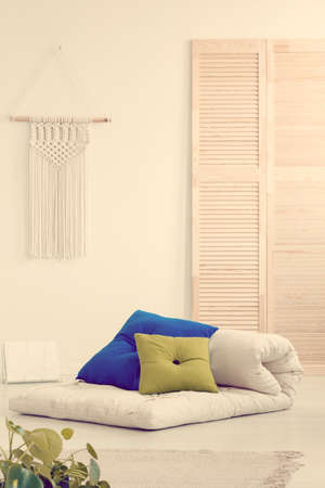 Pillows on futon in scandinavian bedroom interior Stockfoto
