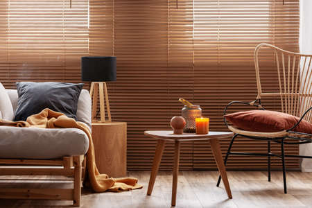 Stylish natural living room with raw wooden furniture and orange accents Stockfoto