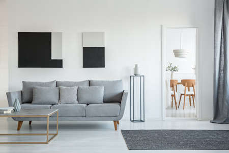 Abstract black and white painting on empty wall of stylish living room interior with comfortable grey couch with pillows Stockfoto