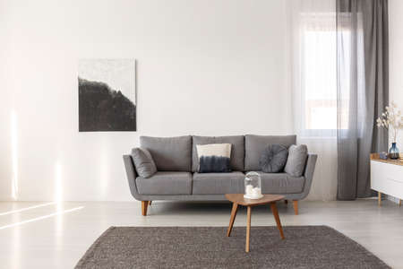 Black and white abstract painting on empty wall of cozy living room interior Stockfoto