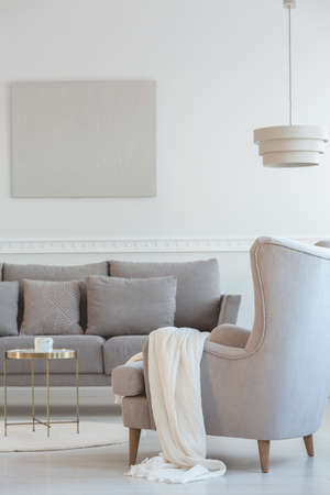 Big comfortable wing back armchair next to long grey scandinavian sofa with pillows in bright living room interior
