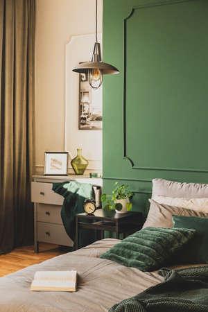 White, grey and green classy bedroom interior design