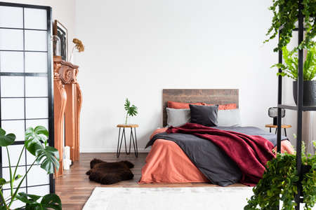 Copy space on empty white wall of rustic bedroom interior with king size bed with orange bedding and burgundy blanket