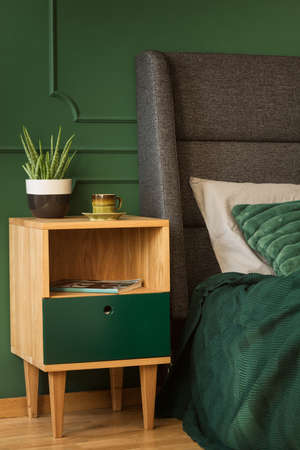 Stylish wooden nightstand with pot with green plant and coffee cup next to king size bed with headboard