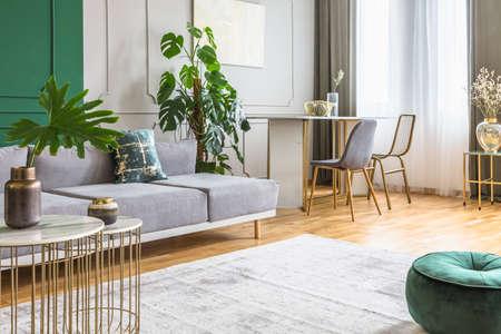 Interno soggiorno e sala da pranzo in appartamento luminoso, foto reale