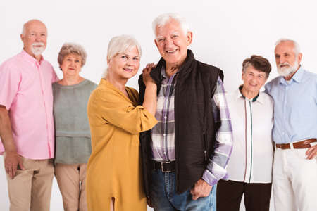 Portrait of group of older friends happy together Zdjęcie Seryjne