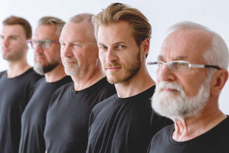 Close up of mens faces in different age