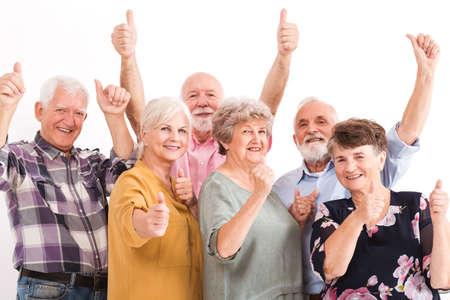Senior mensen die een positieve levensstijl leiden Stockfoto