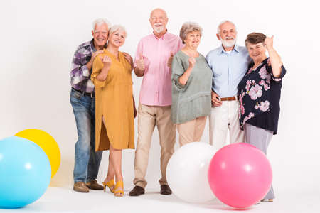 Group senior people having fun at the party Standard-Bild - 129348498