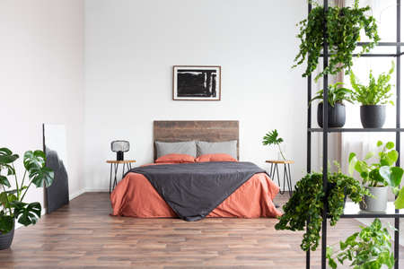 Back poster on the white wall of elegant bedroom interior with king size bed with wooden headboard and urban jungle on metal bookshelf