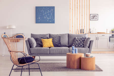 Two wooden block shape like coffee tables with kinck knacks in front of grey scandinavian sofa with pillows
