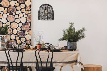 Black chairs and pendant lamp in dining room
