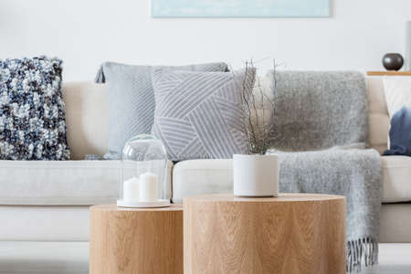 Candle and plant in grey concrete pot on wooden coffee tables in front of scandinavian designed sofa