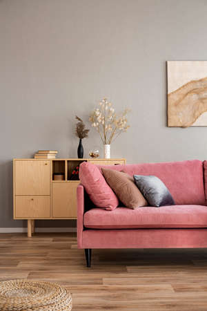 Flowers in vases on wooden commode in contemporary living room interior with pastel pink sofa Stok Fotoğraf