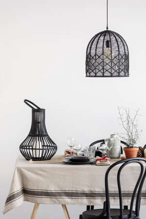 Close-up of black decorations in dining room