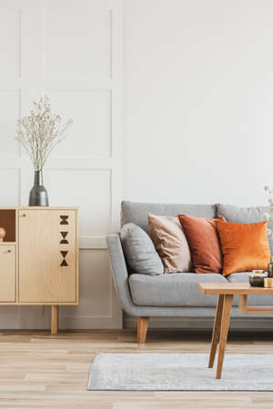 Wooden furniture and grey scandinavian sofa with pillows in beautiful living room interior