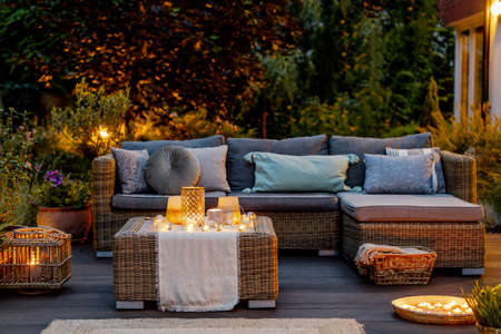 Cozy autumn evening on a modern designed terrace Archivio Fotografico - 133531148