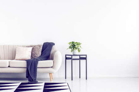 Green plant in grey pot on black industrial table next to beige couch with pillows and blanket