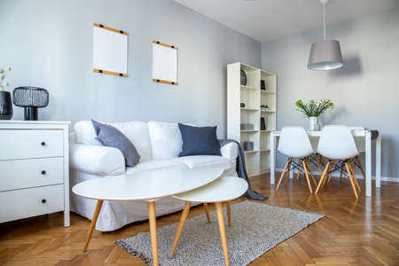 Stylish coffee table, comfortable sofa and dining room furniture in grey room