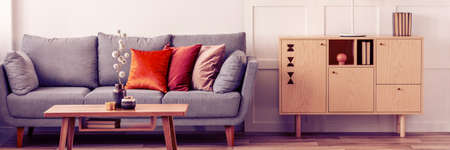 Wooden furniture and grey scandinavian sofa with pillows in beautiful living room interior Stockfoto