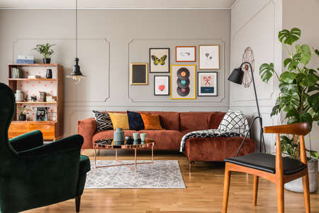 Modern scandinavian apartment with trendy furniture, real photo