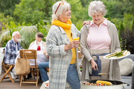 Two older friends talking by the barbecue on a garden party
