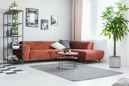 Scandinavian style in spacious living room with comfortable brown corner sofa