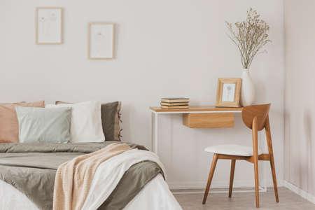 Female elegant bedroom interior in scandinavian style
