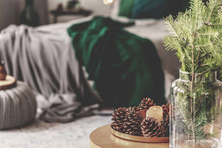 Plate of cones and flowers in glass vase on coffee table in elegant bedroom interior with grey bed with emerald green bedding