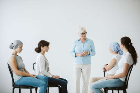 Cancer sick women on a meeting of support group