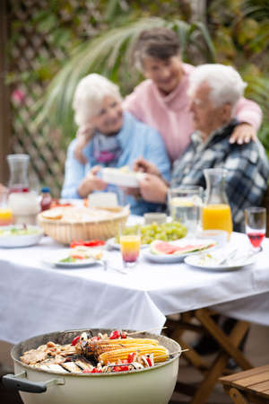 Group of older people at the garden grill party Stock Photo