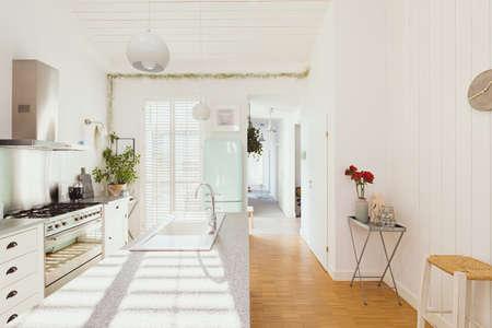 Bright white open ln kitchen interior in stylish home for single family Standard-Bild