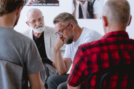 Group psychotherapy for men with different problems and issues Standard-Bild